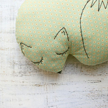 Stuffed fox pillow nursery decor 10x12' rustic primitive animal stuffed toy baby shower gift white green turquoise floral