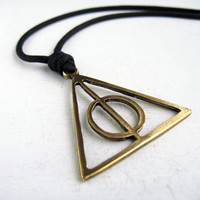 Mens Necklace, Triangle Necklace, Everyday Necklace, Black Cord Necklace, Unique Men Gifts, Male Necklace, Gift For Guy, Geometric Necklace