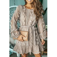 Coffee Short Dress with Flowers