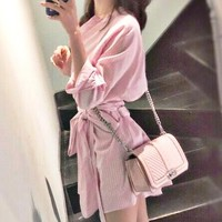 Fashion Sexy Women's Hot Pink Striped Shirt Dress Pink