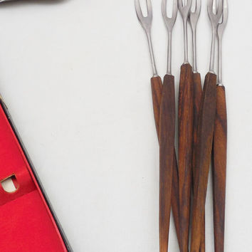 "Long Fondue Forks with Colored Tips 10 1/2"" Long, 6 Wood and Stainless Forks for Fondue, Made in Japan"