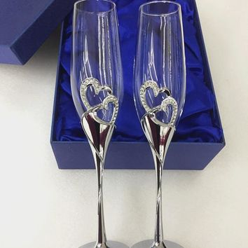 1 Set Crystal Glasses Wedding Toasting Flutes