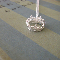 Silver Crown Necklace 3D crown detailed princess crown necklace tiara sterling silver chain