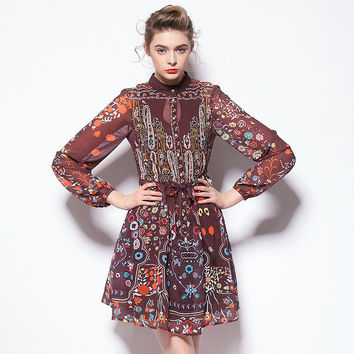 Long Sleeved Ethnic Printed dress