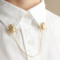 Brass Beetle Collar Brooches