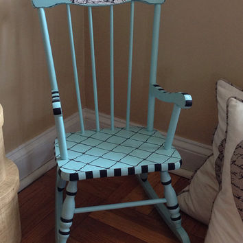 Antique Child Rocking Chair Hand Painted Tiffany Blue and Decoupaged Toile