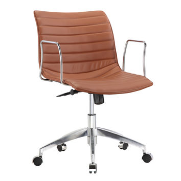 Comfy Office Chair Mid Back, Light Brown Faux Leather