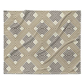 "Julia Grifol ""Brown Geometries"" Beige Geometric Fleece Throw Blanket"