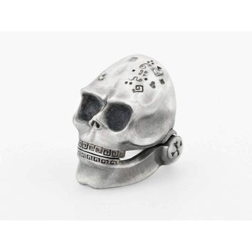 Skull Ring with Moving Jaw in Sterling Silver
