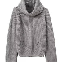 Gray Cropped Turtleneck Soft Sweater