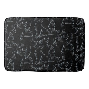Black Abstract Pattern Bathroom Mat