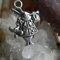 Tibetan Silver FairyTale Rabbit Charm Pendant Double Sided 6 Pieces
