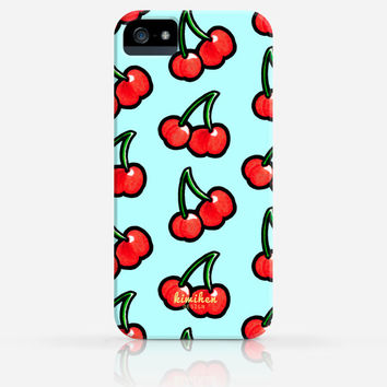 Cute Cherry Pattern Blue White or Yellow iPhone 4 Case, iPhone 4s Case, iPhone 5 Case, iPhone 5s Case, iPhone Hard Plastic Case