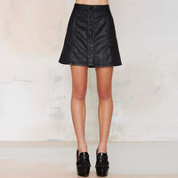 Black Button Down Faux Leather A-Line Skirt