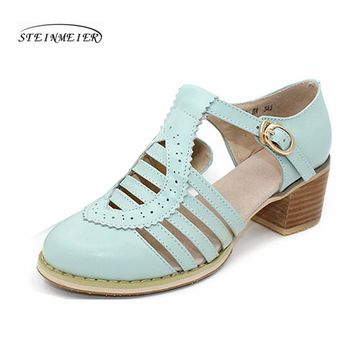 Women genuine leather oxford sandals shoes 5cm thick designer vintage High heels sandals round toe handmade white grey pumps