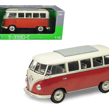 1963 Volkswagen Microbus T1 Bus Red 1-18 Diecast Model Car by Welly