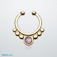 Golden Opal Grandiose Fake Septum Clip-On Ring