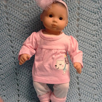 "AMERICAN GIRL Bitty Baby Clothes ""Arctic Pals"" (15 inch) doll outfit dress leggings booties socks headband polar bear penguin pink N6"