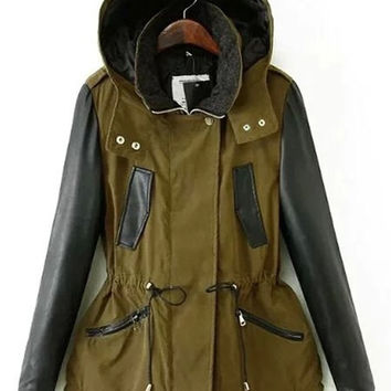 Army Green Hooded Long Sleeve Pocket Design Jacket