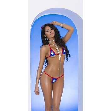 Elegant Moments 82052 Extreme American Patriotic USA Flag Micro Triangle Top & G-String Thong Bikini