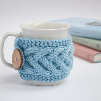 Cup Cozy in Blue, Knitted Mug Cozy, Coffee Cozy, Tea Cup Cozy, Handmade Wooden Button, Coffee Cozy Sleeve, Warmer, Christmas, Winter, Gift