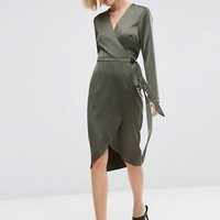 ASOS Midi Wrap Dress in Satin at asos.com
