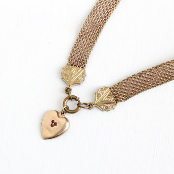 Antique Victorian Gold Filled Mesh Fob Necklace - Vintage Late 1800s Heart Pendant Garnet Romantic Bookchain Charm Jewelry