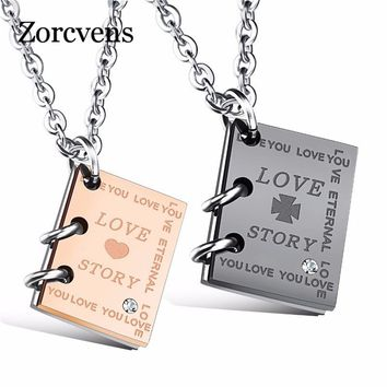 """ZORCVENS Romantic """"Love Story""""  Book Pendant Couple Necklace Black Gold-Color Stainless Steel Necklace for Men and Women Jewelry"""