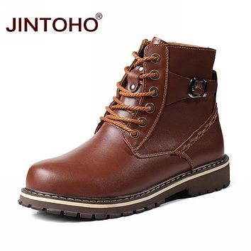 Winter Men Genuine Leather Shoes High Quality Male Leather Boots Work & Safety Boots Warm Safety & Work Shoes
