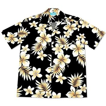 beachcomber black hawaiian cotton shirt