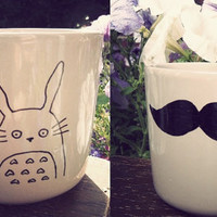Totoro & moustache mug handdrawn by Mr Teacup by MrTeacup on Etsy
