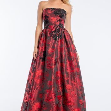 Strapless Brocade Dress With Lace Applique from Camille La Vie and Group USA