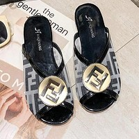 FENDI Summer Popular Women F Letter Print Flat Sandal Slipper Shoes Black