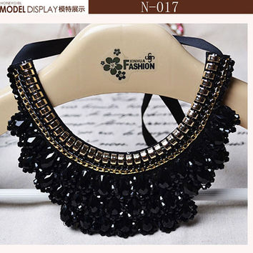 For Women Fashion.Beautiful Gold Flowers Star Necklace Black Ribbon Black False Collar Necklace Women Fashion Clothing Accessory