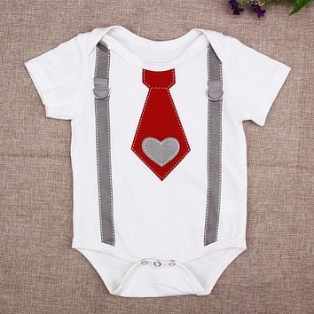 Newborn Baby Boy Suit With Bow Tie Onsie Romper