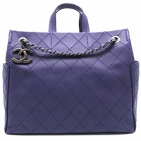 Chanel Quilting Calfskin Leather Shoulder Tote Bag Purple