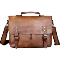 "Vintage Classic Briefcase Genuine Natural Leather Messenger Bag Men's Handbag Casual&Business Bag Shoulder Bag For 13"" Laptop"