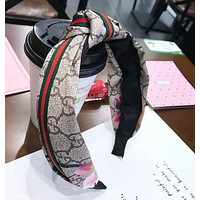 GUCCI New Popular Women Middle Knot Red Green Stripe Floral Wide Hair Band Head Hoop Headband I13055-1