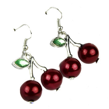 Red Cherry Earrings Rockabilly Jewelry