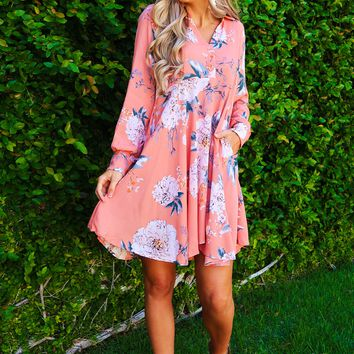 Here For Picking Tunic: Coral Peach/Multi