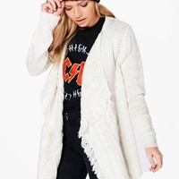 Sophie Waterfall Cable Fringed Cardigan