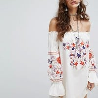 Free People Embroidered Off Shoulder Dress at asos.com