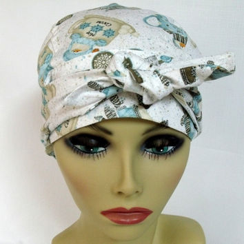 Pixie Head Wrap | Women's Surgical Hat | Chemo Head Cover | Skating Snow Man  | Alopecia | D Large