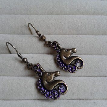 Closing sale - Fantasy purple glitter unicorn  bronze charm  dangle earrings