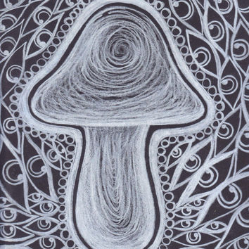 Black and White Trippy Psychedelic Art, Mushroom Eye Art, Print