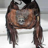 Headdress skull leather brown black bag pirate fringed purse hobo bag fringe handpainted unique piece distressed festival purse caramel