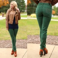 Notre Dame Skinny Jeans in Hunter Green