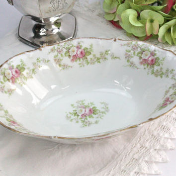 Limoges Vegetable Bowl / Pink and White Roses / Elite Works (Bawo & Dotter) / 2 Available