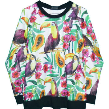Payaya fruit sweatshirt big mouth pink violiet flower bird artwork ** women tops ** teen clothes ** sale clothing size M L one size