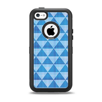 The Vintage Blue Striped Triangular Pattern V4 Apple iPhone 5c Otterbox Defender Case Skin Set
